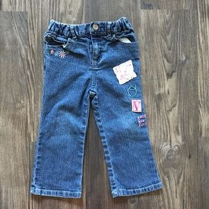 Embroidered Blue Jeans with Patches